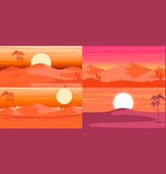 set cartoon desert landscape in flat style vector image