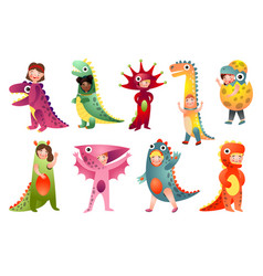 set cute kids in different colorful dino vector image