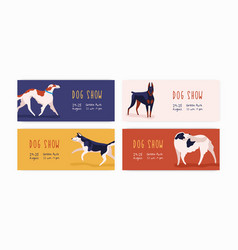 set different horizontal web banner dog show vector image