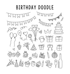 set element doodle decoration birthday set of vector image