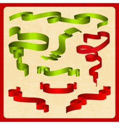 Set green and red tapes vector