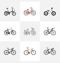 Set of bicycle realistic symbols with exercise vector