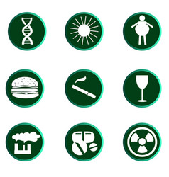 set of cancer icons reasons od desease vector image