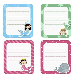 Set of cute creative cards with girl mermaids vector