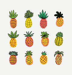 Set of cute sunny pineapples hand drawn vector