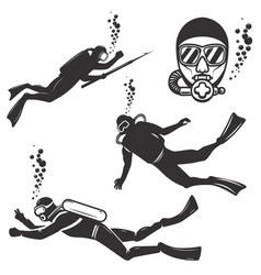 Set of diver icons isolated on white background vector