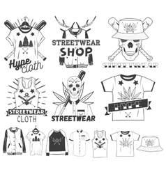 set of streetwear shop logos emblems vector image
