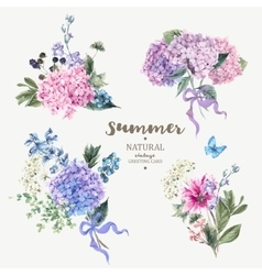 Set of vintage bouquet blooming hydrangea vector