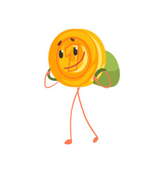 smiling one cent character walking with backpack vector image