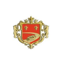 steamboat fleur de lis coat arms retro vector image