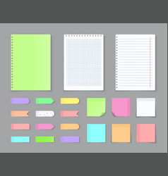 sticky notebook paper adhesive stickers and blank vector image