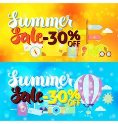 Summer Sale 30 Off Web Banners over Travel Blurred vector image