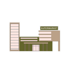 Supermarket building where buying products for vector