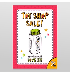 Toy shop sale flyer design with baby powder bottle vector