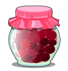 transparent glass jar with cover of pink paper vector image