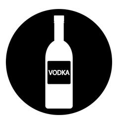 Vodka bottle symbol button vector image