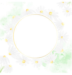 watercolor white daisy square banner for wedding vector image