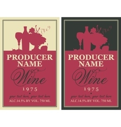 Wine label with still life vector