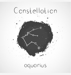 With zodiac constellation aquarius on a grunge vector