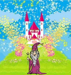 Wizard uses magic in front of fairy-tale castle vector