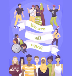 World day social justice flat card vector