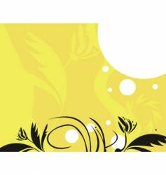 yellow black floral vector image
