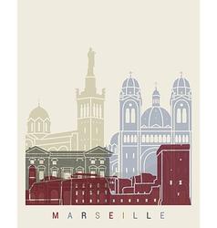 Marseilleskyline poster vector image vector image