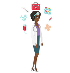 young african-american confident doctor vector image vector image