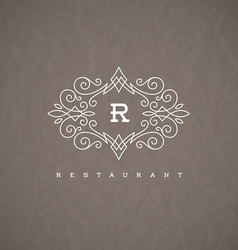 Monogram logo with flourishes calligraphic frame vector