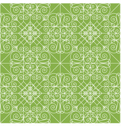 vintage ornament on greenery seamless pattern vector image vector image