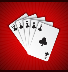 a royal flush of clubs on red background winning vector image