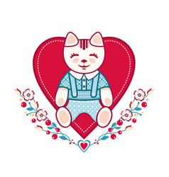 Cute cat greeting card vector
