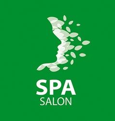 logo feminine face of the leaves vector image