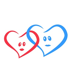 logo love hearts together red and blue vector image