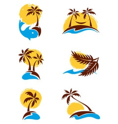 Set of logotypes - palm trees vector image