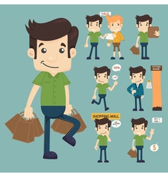 Set of man at market shopping store vector image vector image