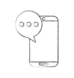 Smartphone device with speech bubble isolated icon vector