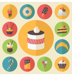 Sweets element set food icons flat design for vector image vector image