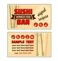 visiting card of sushi bar vector image vector image