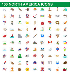 100 north america icons set cartoon style vector image vector image