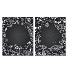 frame for text with floral ornament summer chalk vector image