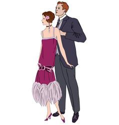 retro clip art girl in 1930s fashion style vector image