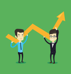 two business men holding growth graph vector image vector image