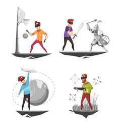 virtual reality concept 4 icons vector image vector image