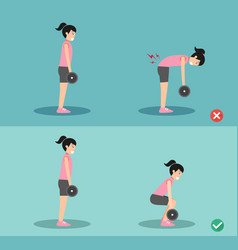 woman wrong and right deadlift posture vector image vector image