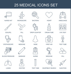25 medical icons vector image