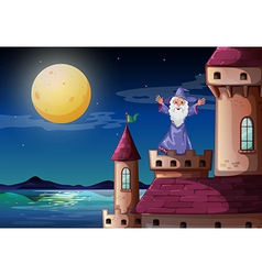 A wizard standing above a castle port vector
