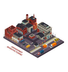 Abandoned manufacturing isometric composition vector