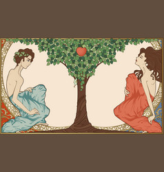 adam and eve art-nouveau style vector image