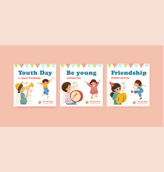 Advertise template with youth day design vector